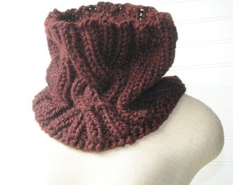 Catriona Cowl, Chunky Knitted Scarf, Outlander, Deep Red Merlot