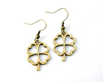 Antiqued Brass Vintage Style Four Leaf Clover Dangle Earrings - CP099 - Bridesmaids Gift Idea - Bridal Jewelry - Lucky Clover Earrings