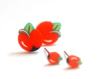 Tiny Miniature Red Apple Post Earrings 4mm 8mm