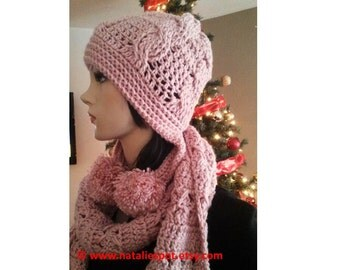 INSTANT DOWNLOAD Set of Pom Pom Cables Beanie and Cables Scarf  - Crochet Pattern