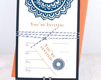 Fill in Invitations, Blank Bridal Shower Invitations, Blank Invitation Card, Baker Twine and Hanging Tag, Navy Blue and Orange  - 10 Pack