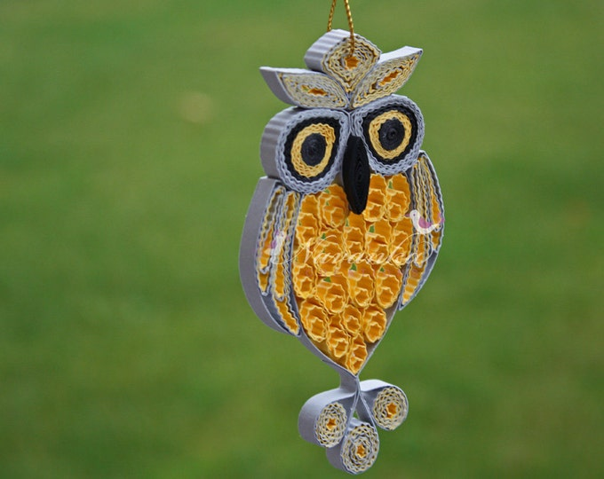 Made to order Grey and Yellow Paper Quilling Owl in a gift box , Paper Quilled Owl,valentine, babyshower