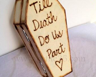 Casket, coffin, ring bear pillow, Till Death Do Us Part, Fall wedding, Autumn wedding, Fall wedding, Halloween wedding