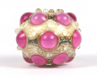 Pink and Ivory Lampwork Focal Glass Bead