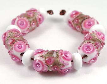 Pink and White Handmade Lampwork Bead Set