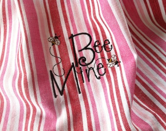 Bee Mine embroidered pink and red stripe cotton kitchen dish towel