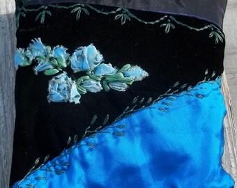 Deep Blue Velvet and Taffeta Wee Crazy Quilt Pillow