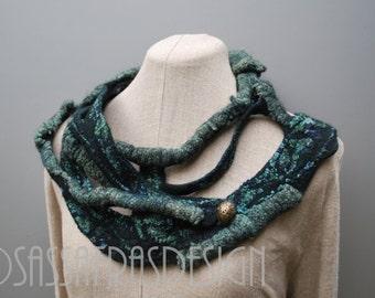 Outstanding handmade art scarf, artistic bohemian winter accessory, wet felted neckpiece, contemporary artwear, OOAK statement accessory
