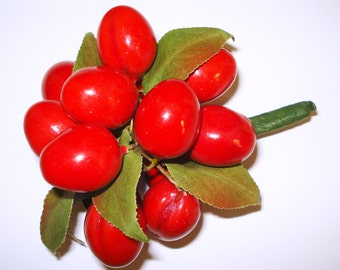 Cherry Corsage Vintage Made of Beautiful Sizzling Red Cherries  . Stunning