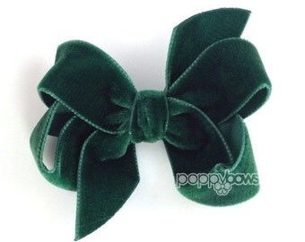 "Dark green velvet hair bow, 3"" hair bow, Christmas hair bow, girls hair bows, velvet hair clips, velvet hair bows, baby hair bows, boutique"