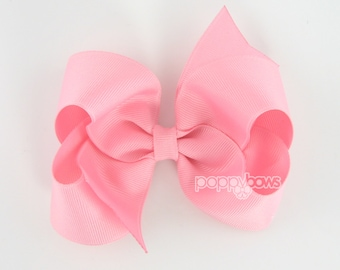 Cotton Candy Pink Hair Bow - 4 Inch Bows - Baby Toddler Girl Hairbows Classic Large Boutique Non Slip Alligator Clips Light Pink