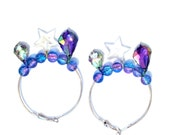 Colorful Hologram, Star, Pearls, and Charm Hoop Earrings