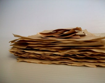 20 piece stack of coffee dyed papers for crafts . hand dyed papers . coffee stained papers . papers for art journals . collage papers