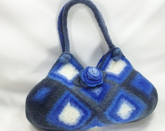 White and Shades of Blue Felted Wool Bag  Purse  Fiber Art Granny Square Handbag crochet purse removeable Rose Brooch