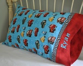 Pair of Disney Cars Handmade Cotton Pillowcases with Embroidered Name