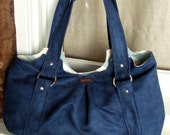 Large Tote Bag Handbag / Slouchy Shoulder Bag / Blue Faux Suede & Chevrons / Emmaline Bag
