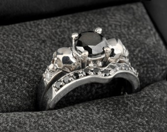 Skull Engagement Ring Set, Wedding Ring Set with 14K White Gold Black and White Diamonds