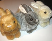Natural Looking Rabbits for Sale With Music Box Movement Inside  - 6 Inch Plush Stuffed Animals  - Your Choice of Color and Song