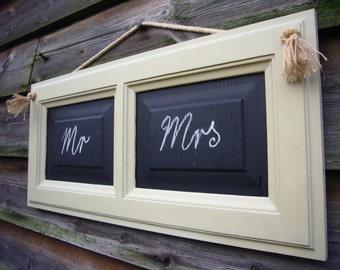 Mr and Mrs Chalkboard - Framed Chalkboard - Rustic Chalkboard - Hanging Blackboard - Pale Green Sign - Wedding Blackboard UK