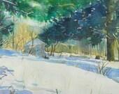 Winter Day, Original watercolor painting