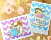 Tea Party Animals - Mini Archival Print **Choose One** - Hedgehog or Deer