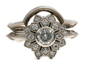 Moissanite and Diamond Art Deco Engagement Ring Set - White Gold