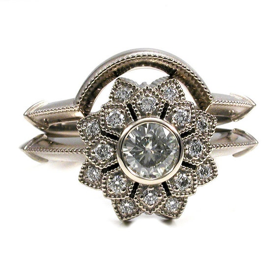 Moissanite And Diamond Art Deco Engagement Ring Set White