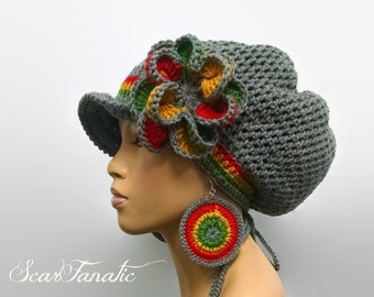MADE TO ORDER Grey Rasta Hat Slouch hat/dreadlock hat w free crochet earrings and detachable flower clip/ drawstring Red gold Green