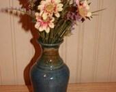 Handmade pottery  flower vase, blue vase
