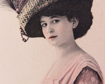 Victorian Lady Model Photo Postcard with Large Hat Dated 1916