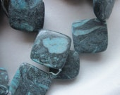 Blue Multi Color Jasper Zebra Flat Diamond Beads 28-30mm 8 Beads
