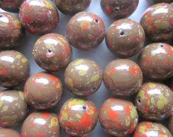 Brown Multi Color Acrylic Beads 14mm 14 Beads