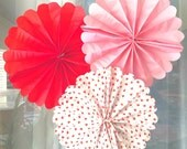 3 Valentines Day Pom Wheels, Pom Medallians, Valentine's Day Decoration, Party Decor, Pom Wheels, Red Heart, Tissue Paper Pom, Backdrop