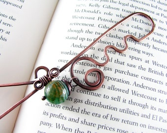 Wire Bookmark Copper Wire Wrapped Beaded Green Agate and Copper Wire Wrapped Bookmark