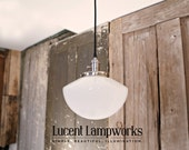 Chandelier Pendant With Tapered Opal Glass Shade and Exposed Socket Design