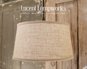 "Ceiling Lighting Downrod Drum Shade With 15"" Taper Drum in Burlap Fabric Drum Shade"