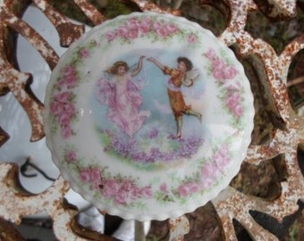 Vintage Porcelain Trinket Dish With Cover Two Angels With Pink Roses White Round  1940s to 1950s