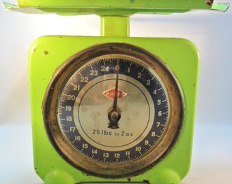 "Vintage ""KRUPS"" Kitchen Scale RARE Bright Chartreuse Neon Green Chippy Chic 1960's Mid Century Retro Art Deco Mod"