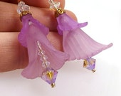 Swarovski and Purple Lucite Lily Earrings, 1 5/8 inch (4.2cm) Drops, Lucite Flower Beads with Crystal Accent Earrings, Art Nouveau Style