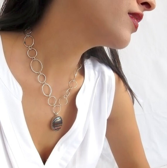 Agate necklace, Sterling silver agate necklace,  Agate pedant, Gemstone statement necklace