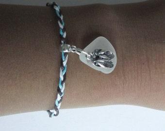 Flip flops bracelet. Surfer braclelet. Beach sea glass jewelry.