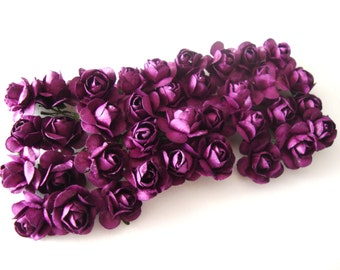 Small Plum Purple Mulberry Paper Roses Flowers-3 bunches