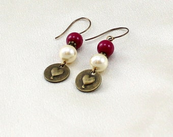 Clearance.  Magenta and Pearl earrings with Heart Dangles.  Whimsical.  Gift for her.
