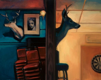 Oil painting bar deer taxidermy