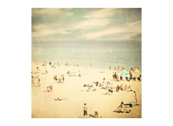 "Vintage Beach Photo. Santa Cruz.  Ocean. Sea. Pale. Vintage. Retro. People. Summer. California. Water. Blue. ""Summer in Santa Cruz"""