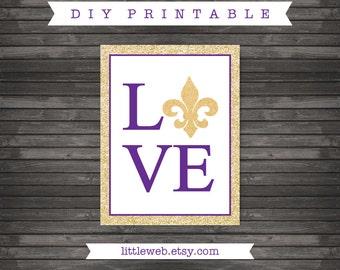 LSU Love Tigers Printable, Fleur de Lis Art Print, Baton Rouge, Louisiana Instant Download