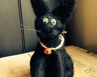 Needle Felted Black Kitty Decoration
