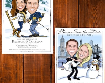 Winter Wedding Caricature Save the Dates - Cards, Magnets, and Invitations