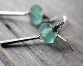 Aqua Sea Glass Silver Earrings, Dangle Earrings, Boho Earrings, Bohemian Earrings, Boho Silver Earrings, Silver Earrings, Sea Glass Earrings
