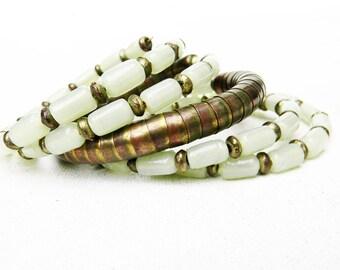 Antique Jade Bracelet  Silver Snake Wrap Bracelet